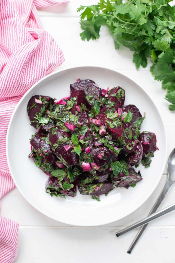 Beetroot Salad with fresh Herbs Parsley, Mint, Cilantro)