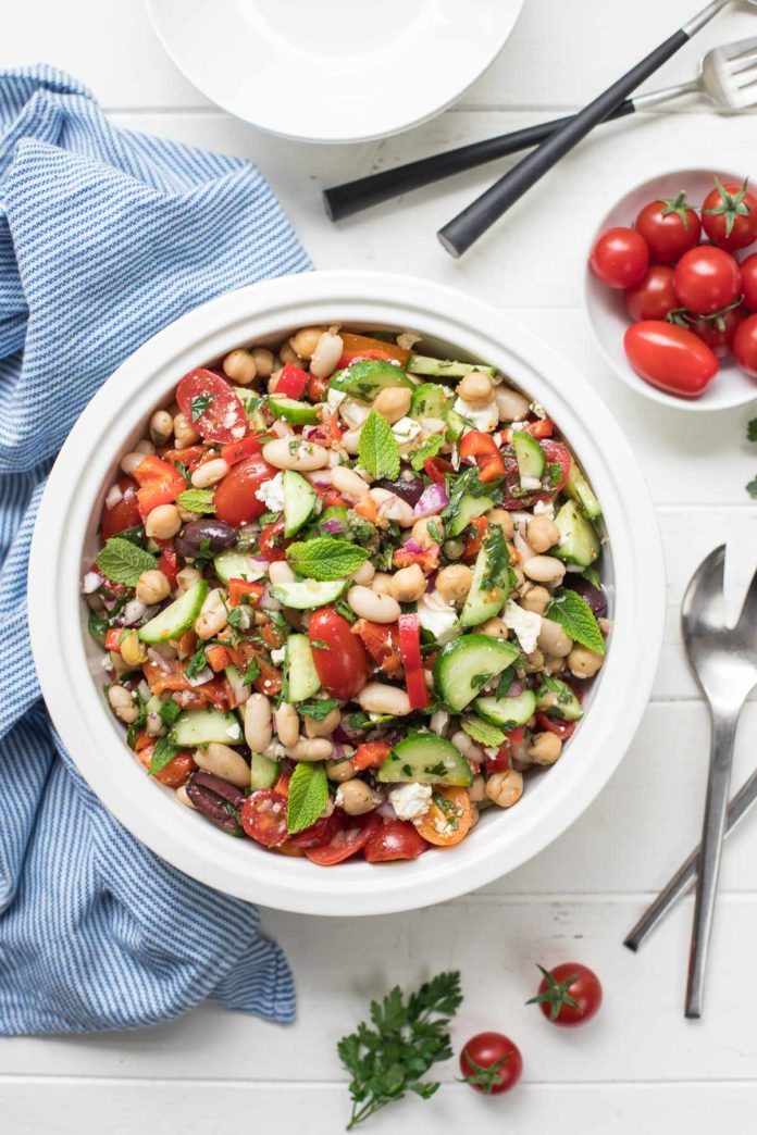 Mediterranean Bean Salad with Roasted Peppers