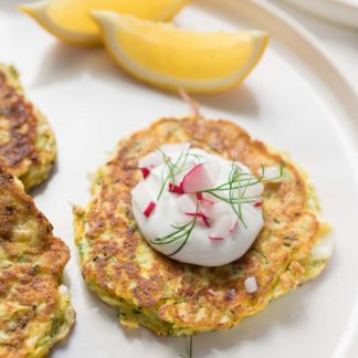 Zucchini-Pancakes with Feta and Dill, plus yoghurt sauce, gluten-free recipe