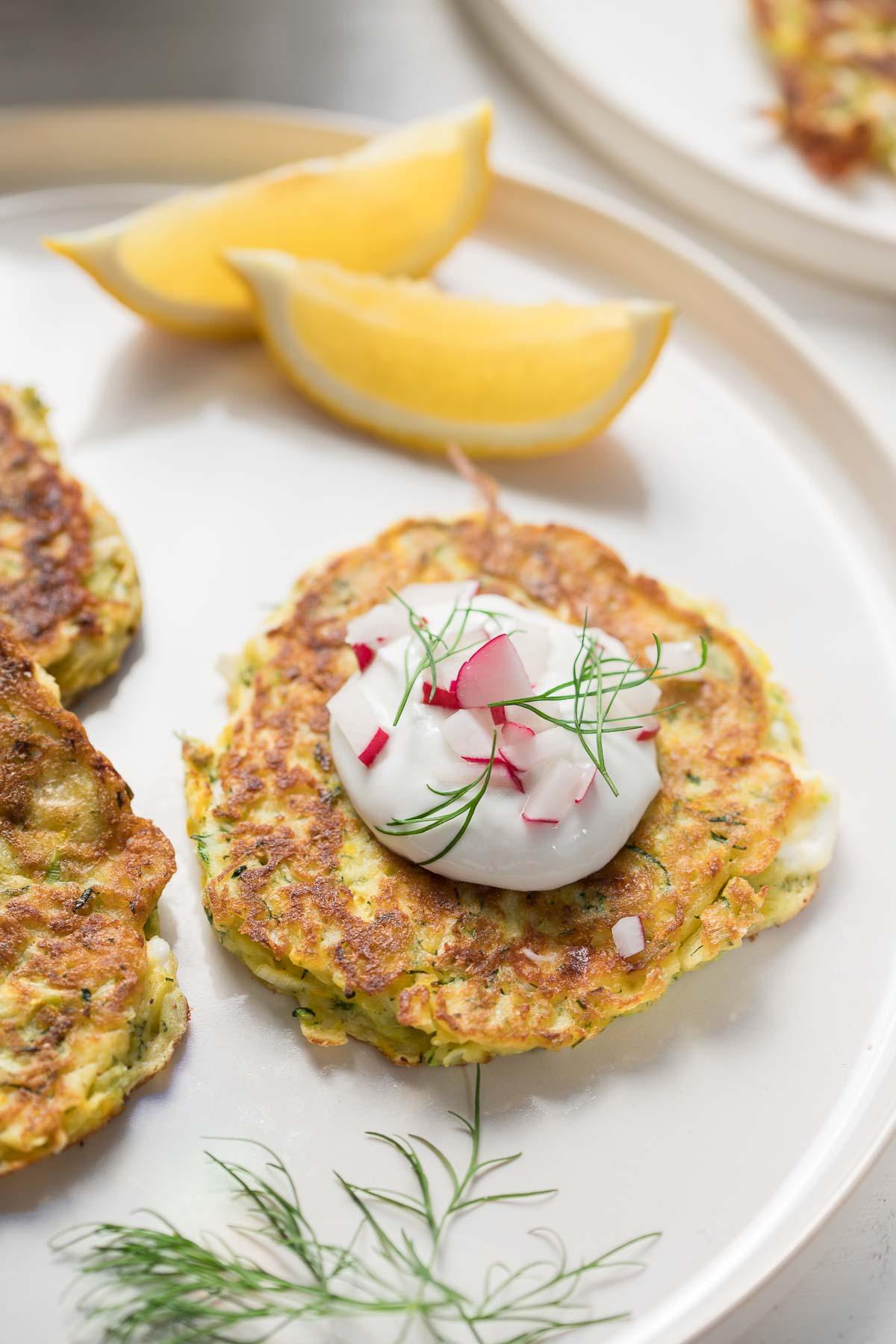 Zucchini-Pancakes with Feta and Dill, plus yoghurt sauce, gluten-free recipe