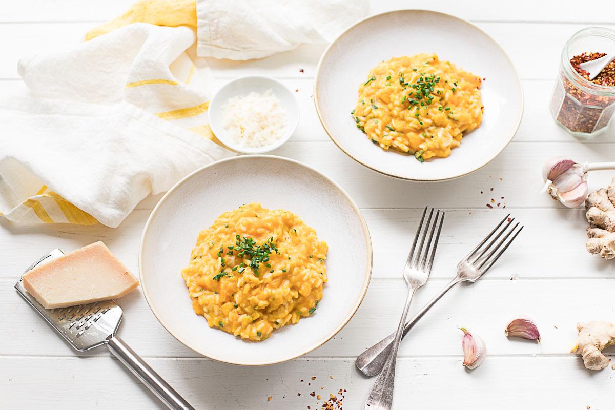 Cremige Kürbis-Risotto mit Butternut-Kürbis, Ingwer, Parmesan Rezept, Italienisches Kürbisrisotto