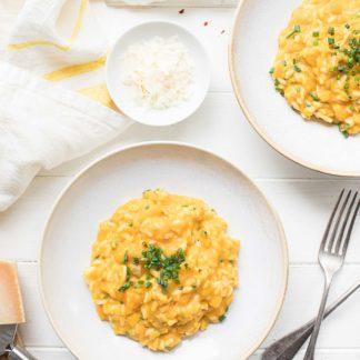 Cremige Kürbis-Risotto mit Butternut-Kürbis, Ingwer, Parmesan Rezept