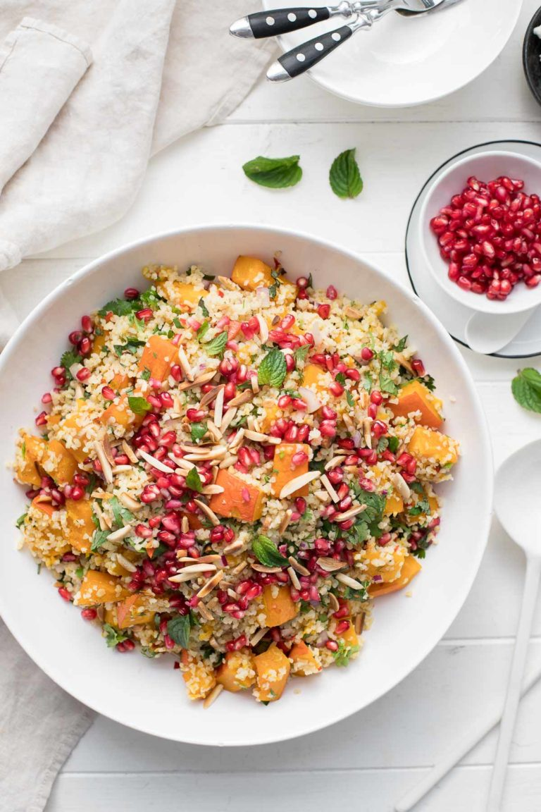 Ginger-Chili Oven Roasted Pumpkin and Bulgur Salad
