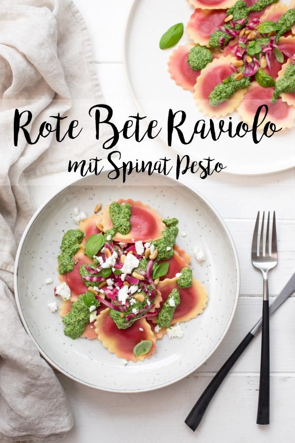 Rote‐Bete‐Raviolo mit Spinat-Pesto Rezept