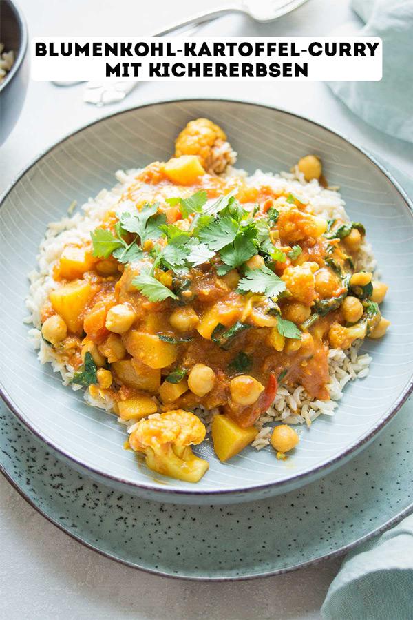 Blumenkohl-Kartoffel-Curry mit Kichererbsen Rezept