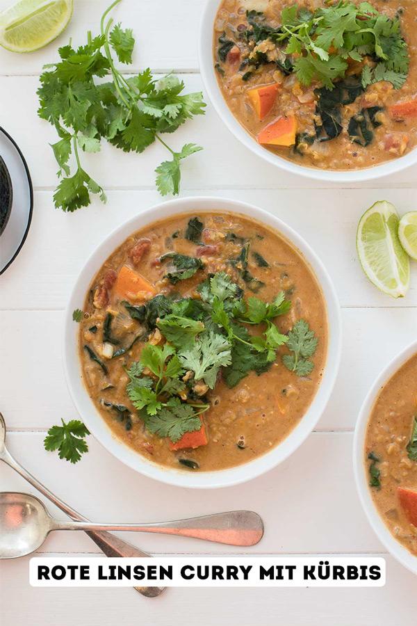 Rote Linsen Curry mit Kürbis Rezept