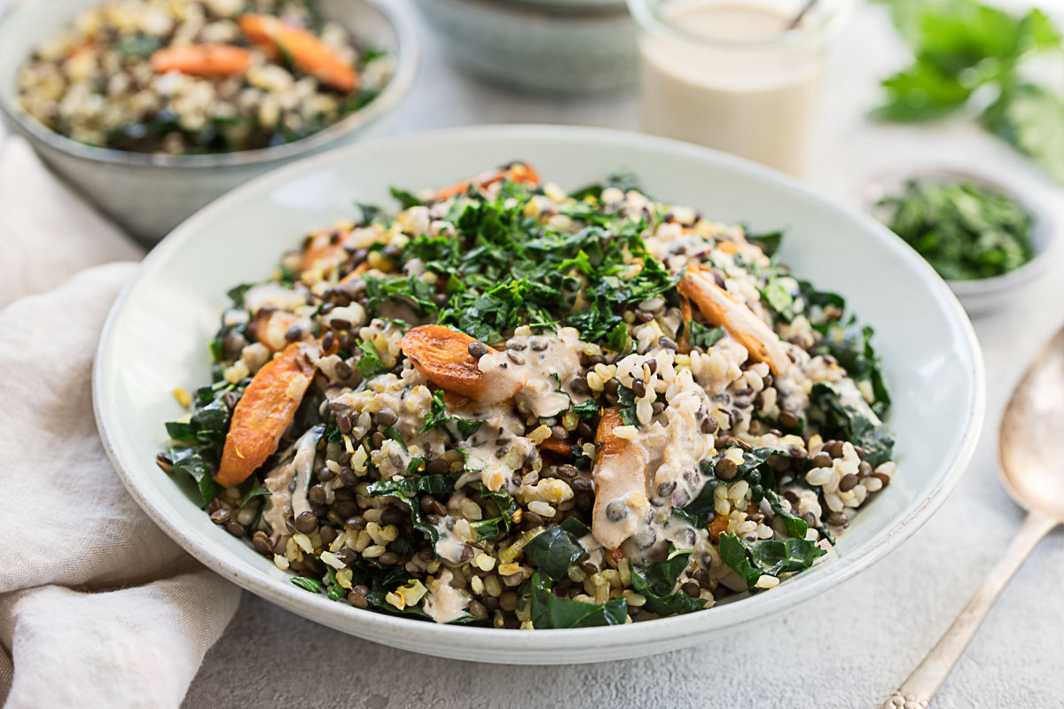 Lentil-Rice Salad with Roasted Carrots and Tahini Dressing