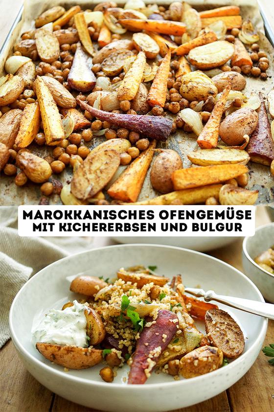 Marokkanisches Ofengemüse mit Kichererbsen und Bulgur Rezept