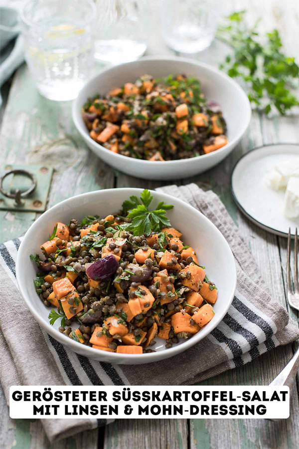 Gerösteter Süßkartoffel-Salat mit Linsen und Mohn-Dressing Rezept