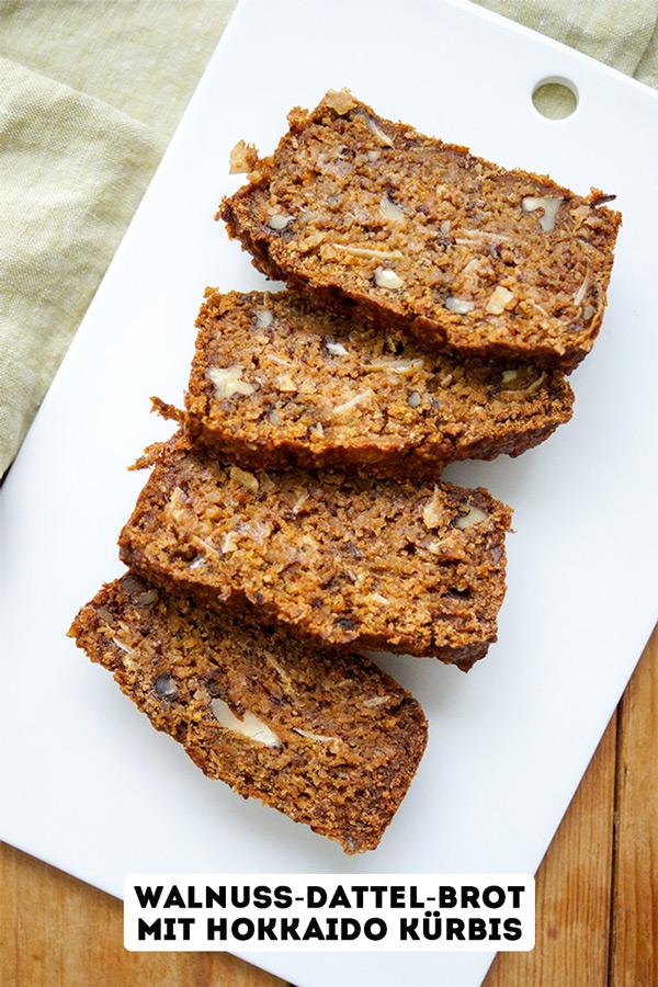 Walnuss-Dattel-Brot mit Hokkaido Kürbis (vegan + glutenfrei)