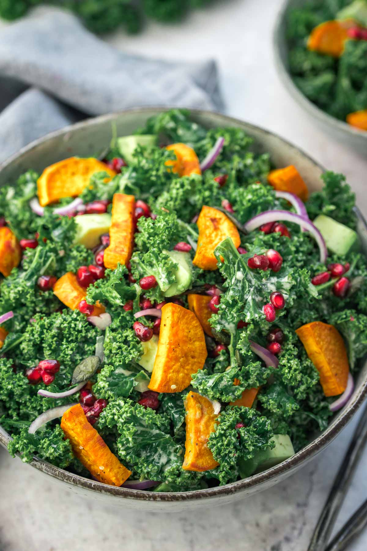 Kale Salad with Sweet Potatoes and Tahini Dressing