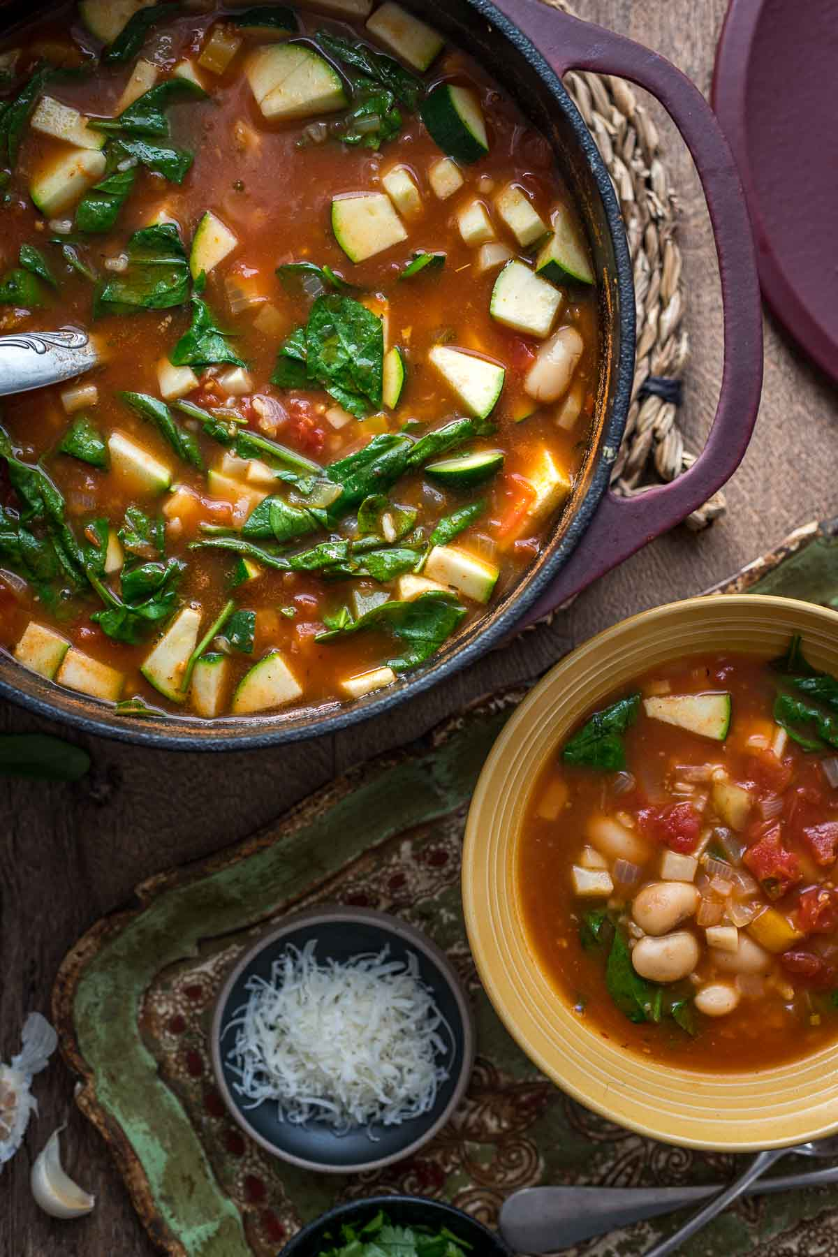 Minestrone Soup with Rice and White Beans