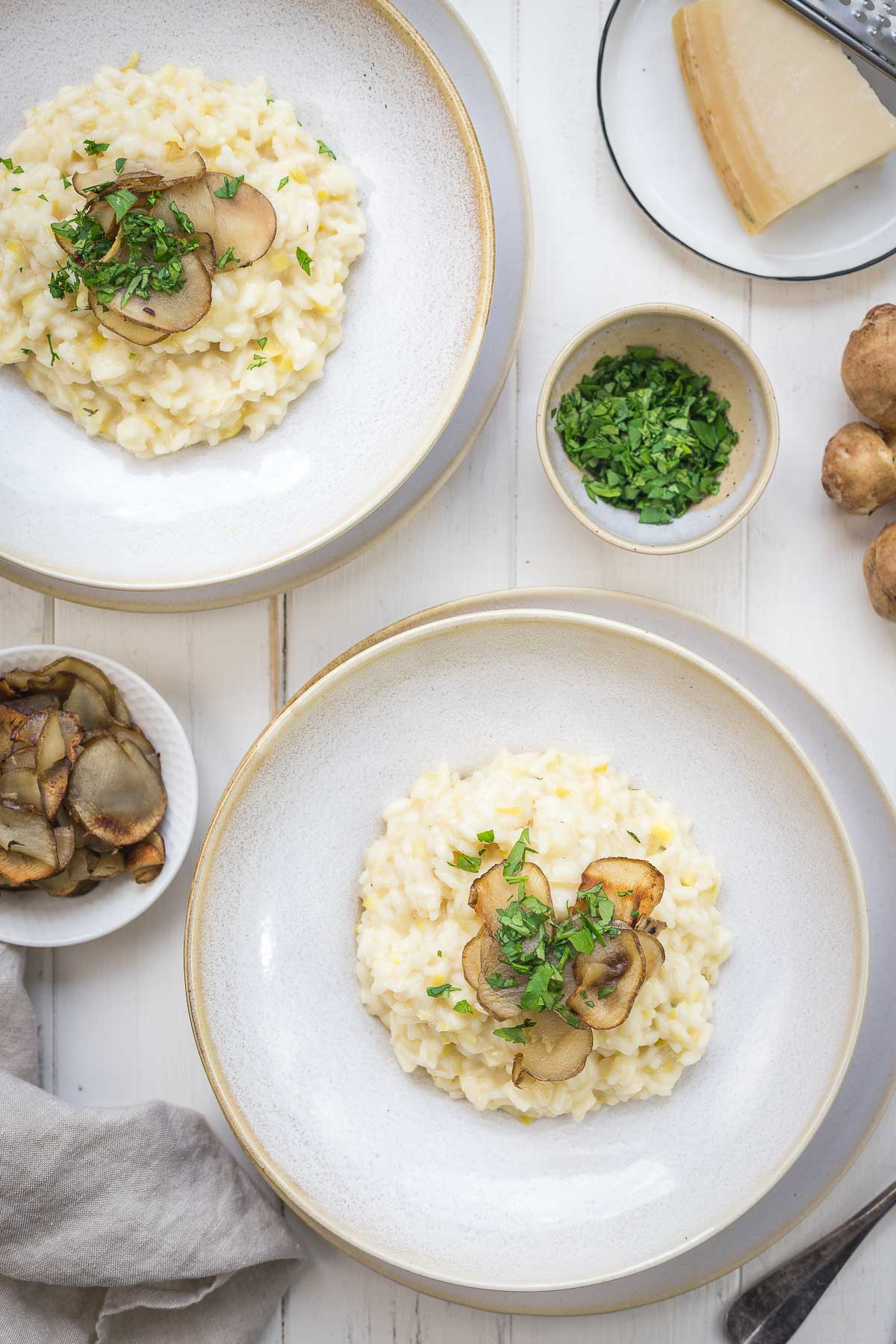 Leek Risotto with Fried Jerusalem Artichokes