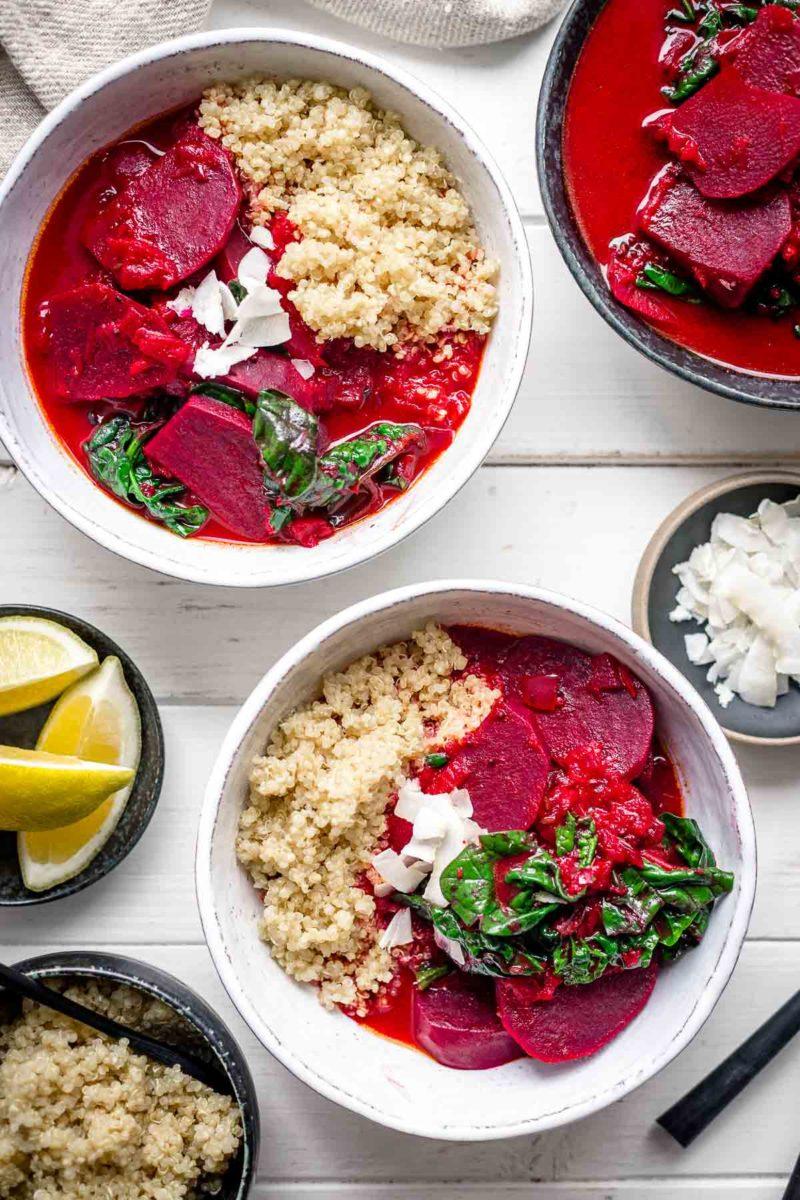 Rote-Bete-Curry mit Kokosmilch und Spinat Vegan Rezept