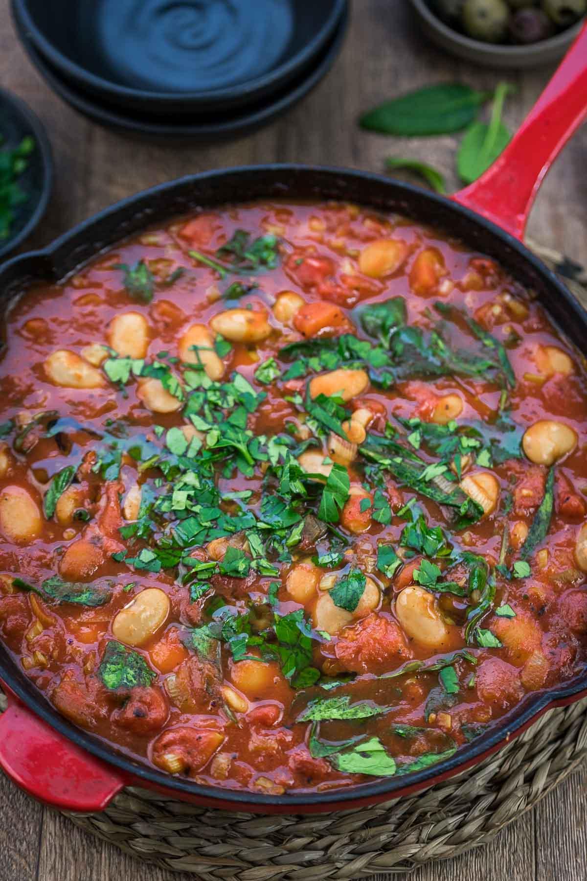 Gebackene weiße Bohnen in Tomatensoße, Gigantes Plaki Rezept