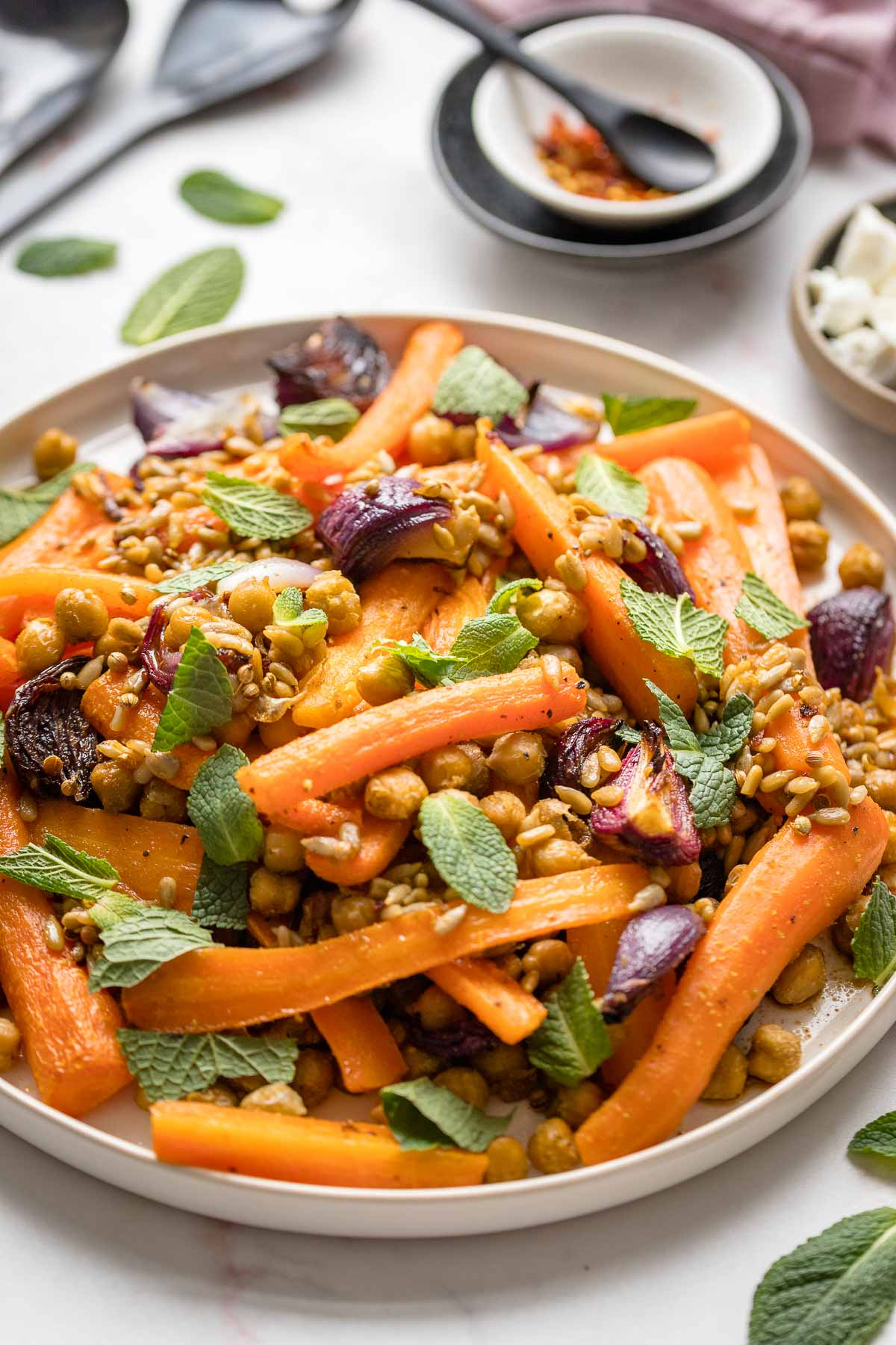 Roasted Carrots with Chickpeas, Red Onion & Mint (vegan)
