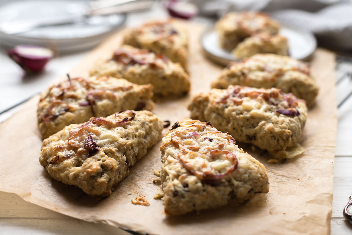 Cheddar Cheese Scones with red onion