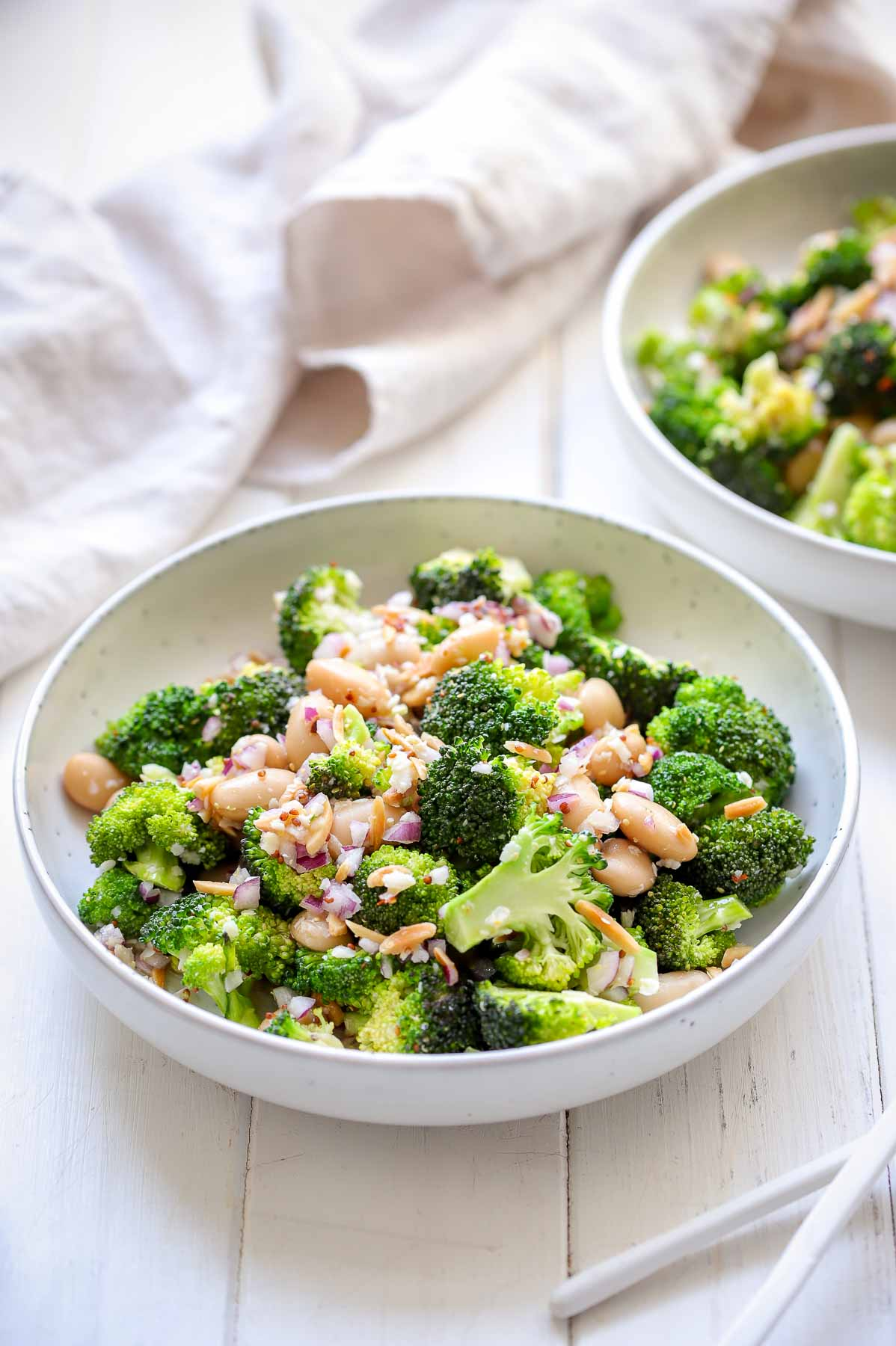 Super Easy Broccoli Salad with parmesan, almonds, butter beans