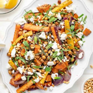 Roasted Vegetable and Chickpeas with Za'atar, Mint and Feta