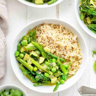 Einfaches Grünes Thai Curry mit Frühlings-Gemüse, vegetarisches Rezept