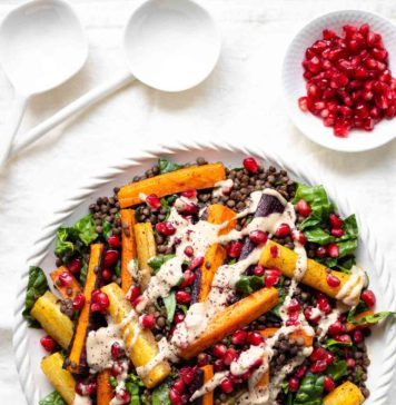 Roasted Carrot Lentil Salad with Tahini Dressing