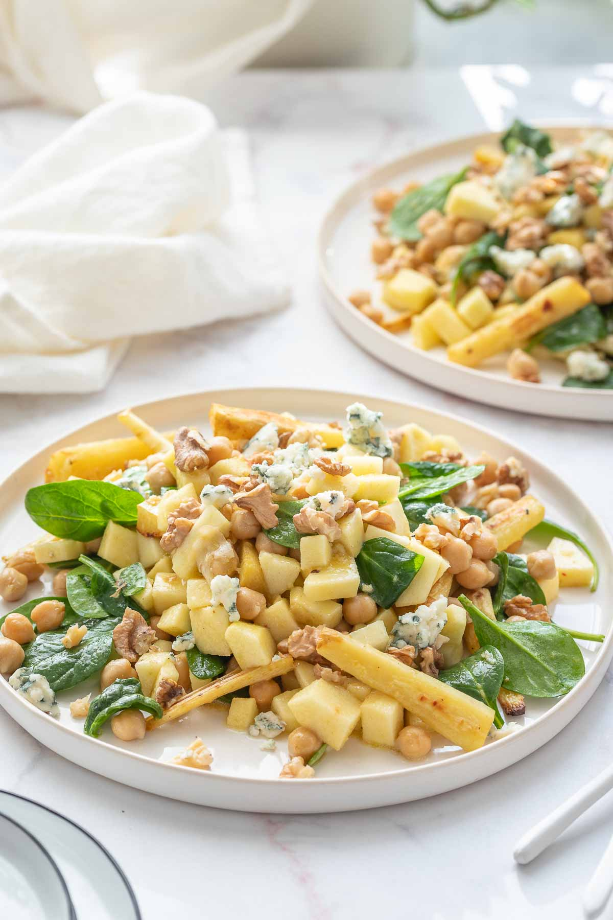 Parsnip Salad with Chickpeas, Apple, Walnuts & Blue Cheese