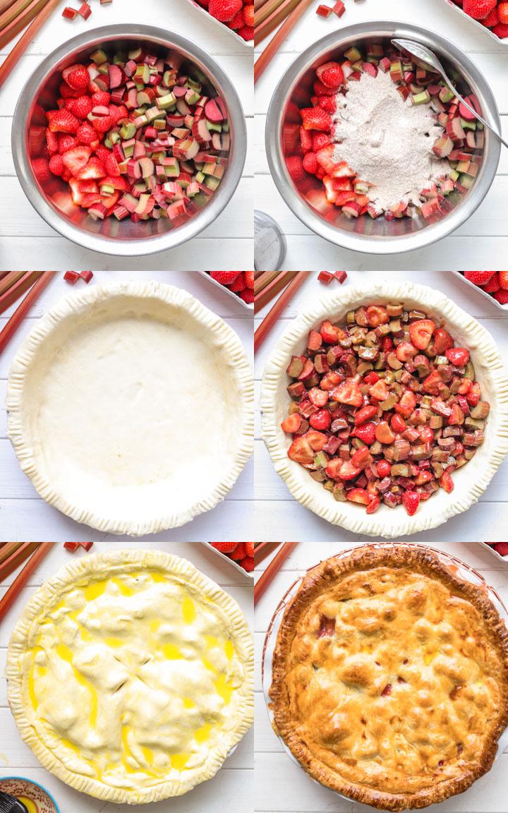 Back-Schritte Erdbeer Rhabarber Pie Rezept