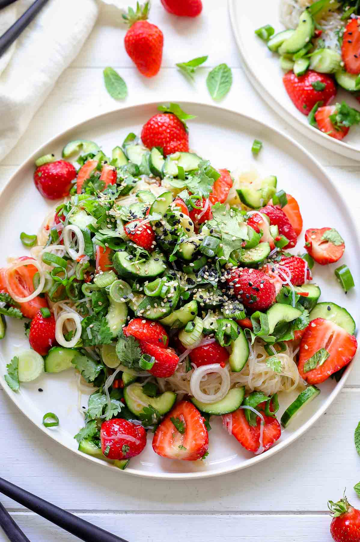 Vermicelli-Noodle Salad with Strawberries & Cucumber