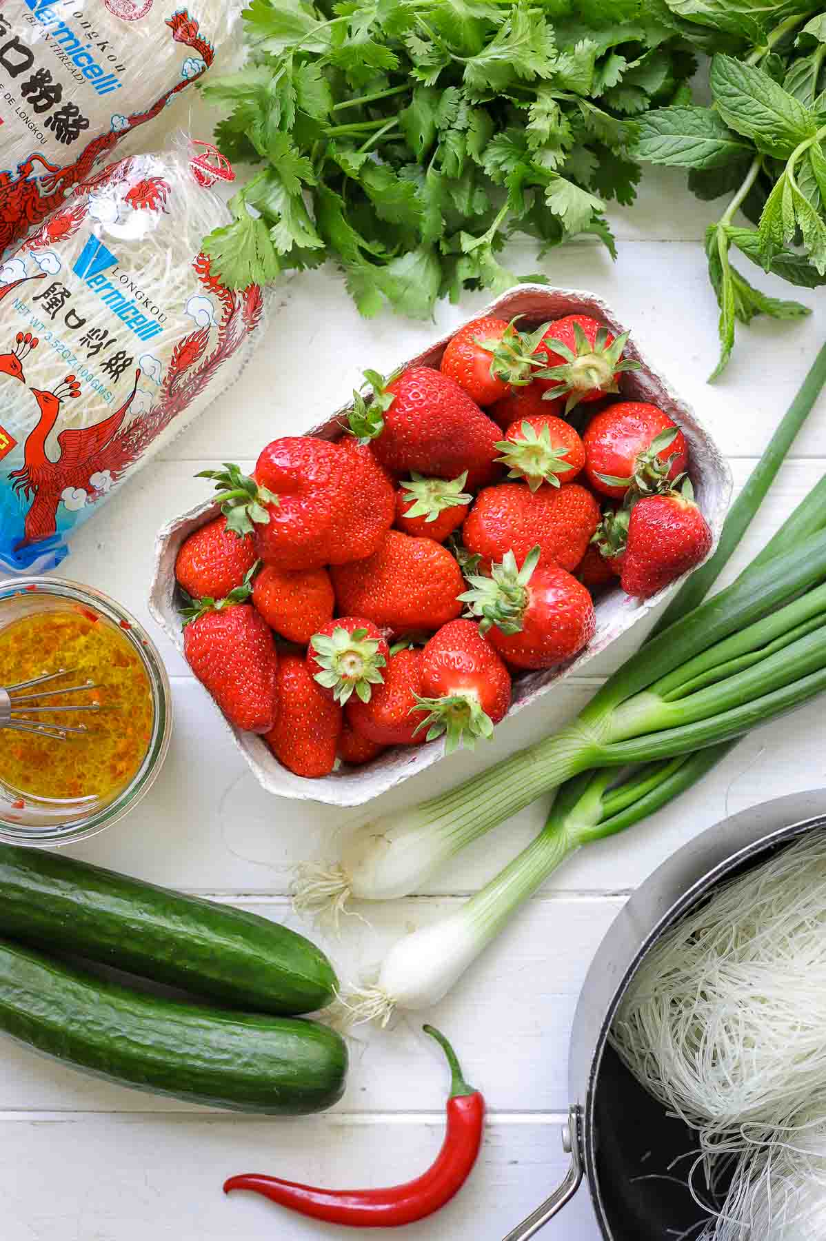 Ingredients for Glass Noodle Salad with Strawberries & Cucumber