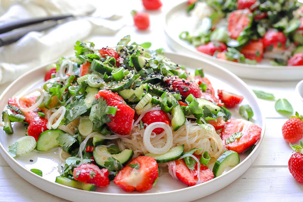Glass Noodle Salad with Strawberries & Cucumber