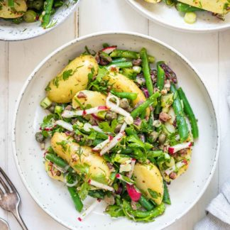 Green Bean Potato Salad with bacon, capers, herbs, radishes