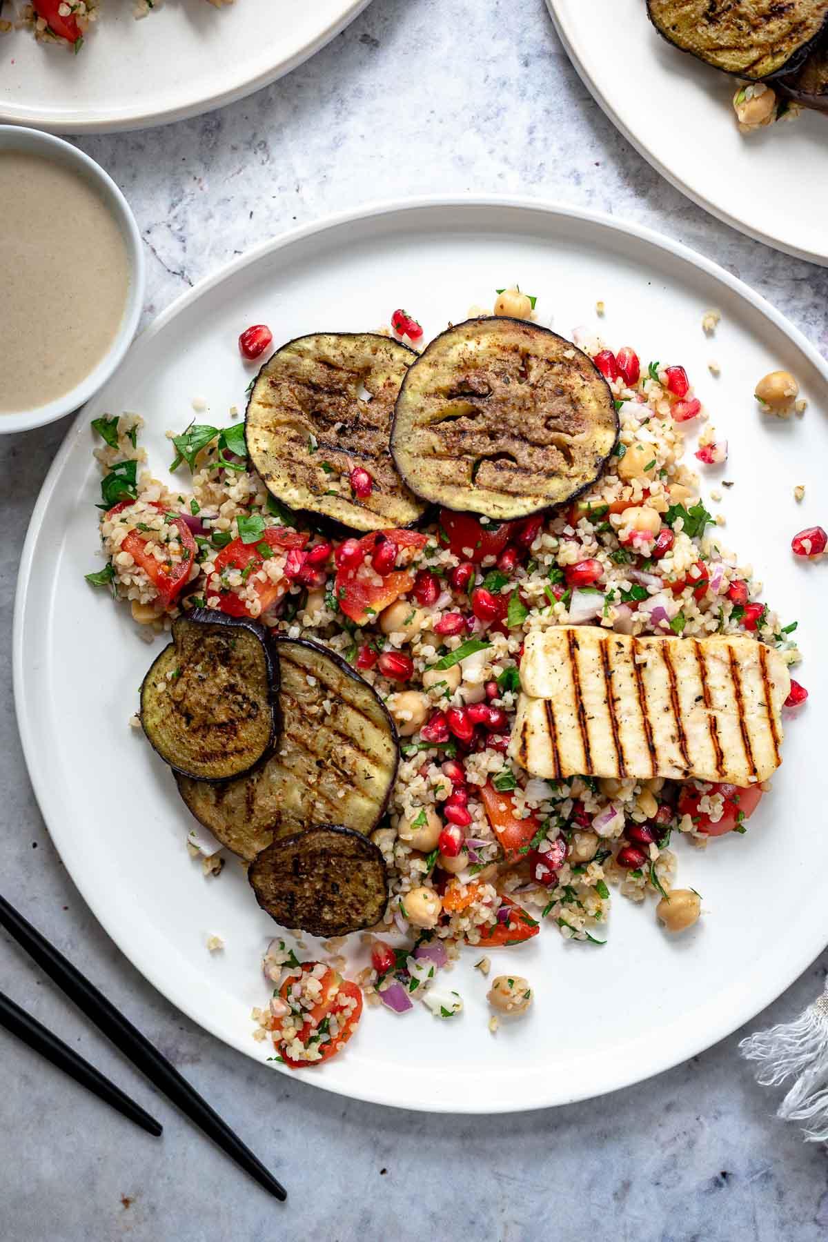 Bulgur Chickpea Salad with Grilled Halloumi and Eggplant