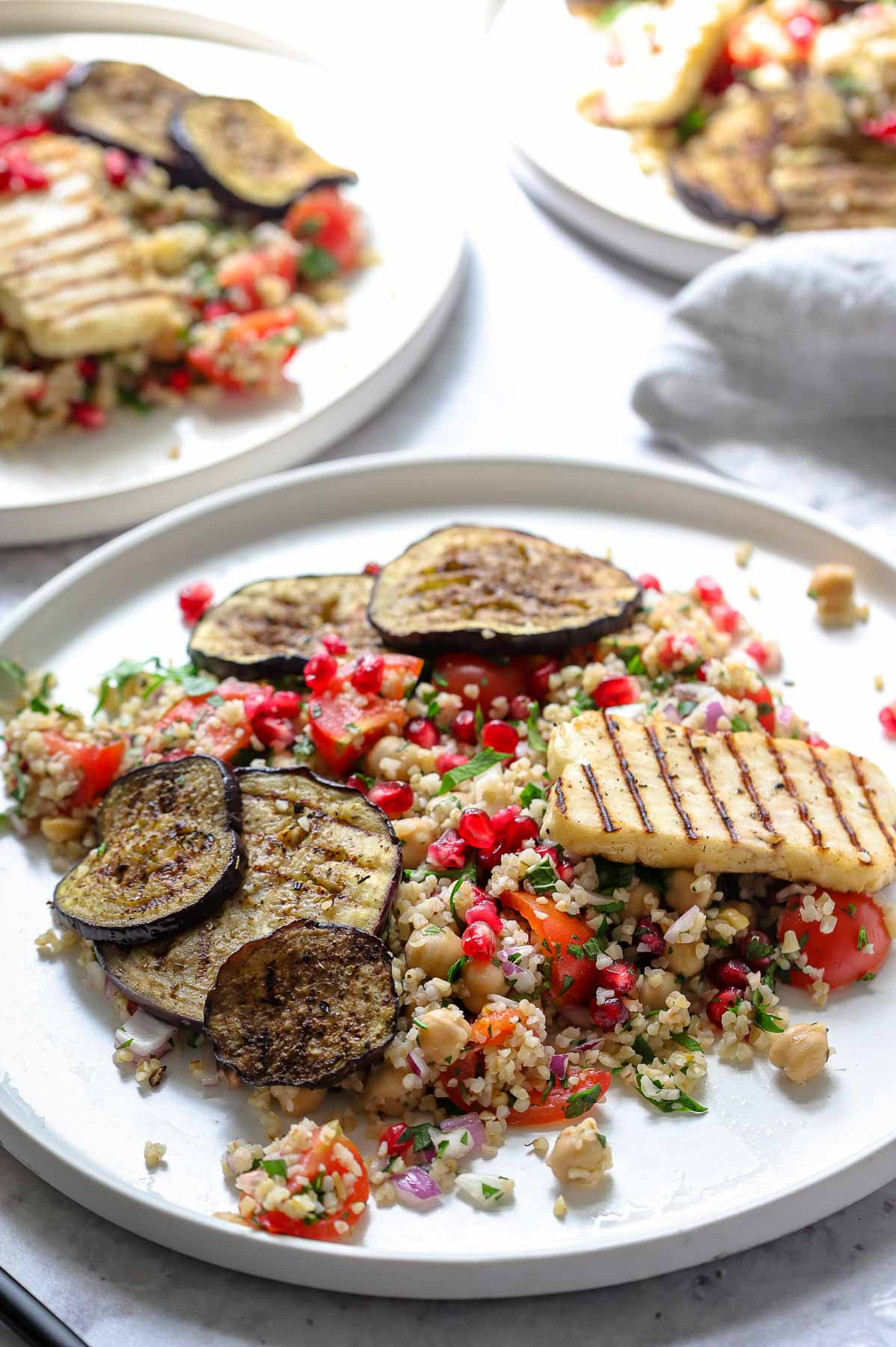 Bulgur Chickpea Salad with Grilled Halloumi and Eggplant/Aubergine
