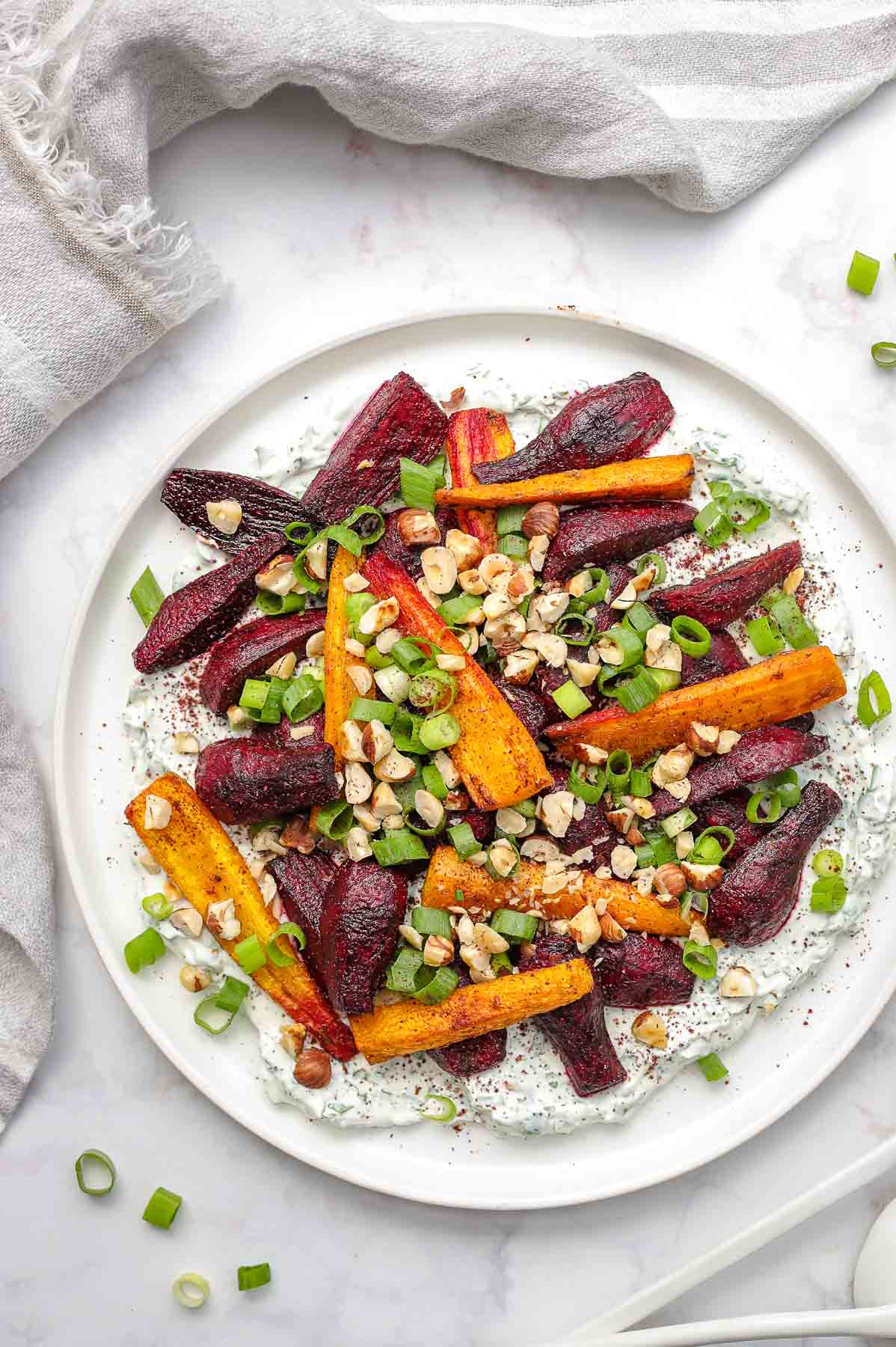Roasted Beets and Carrots with Herbed Yogurt and Hazelnuts