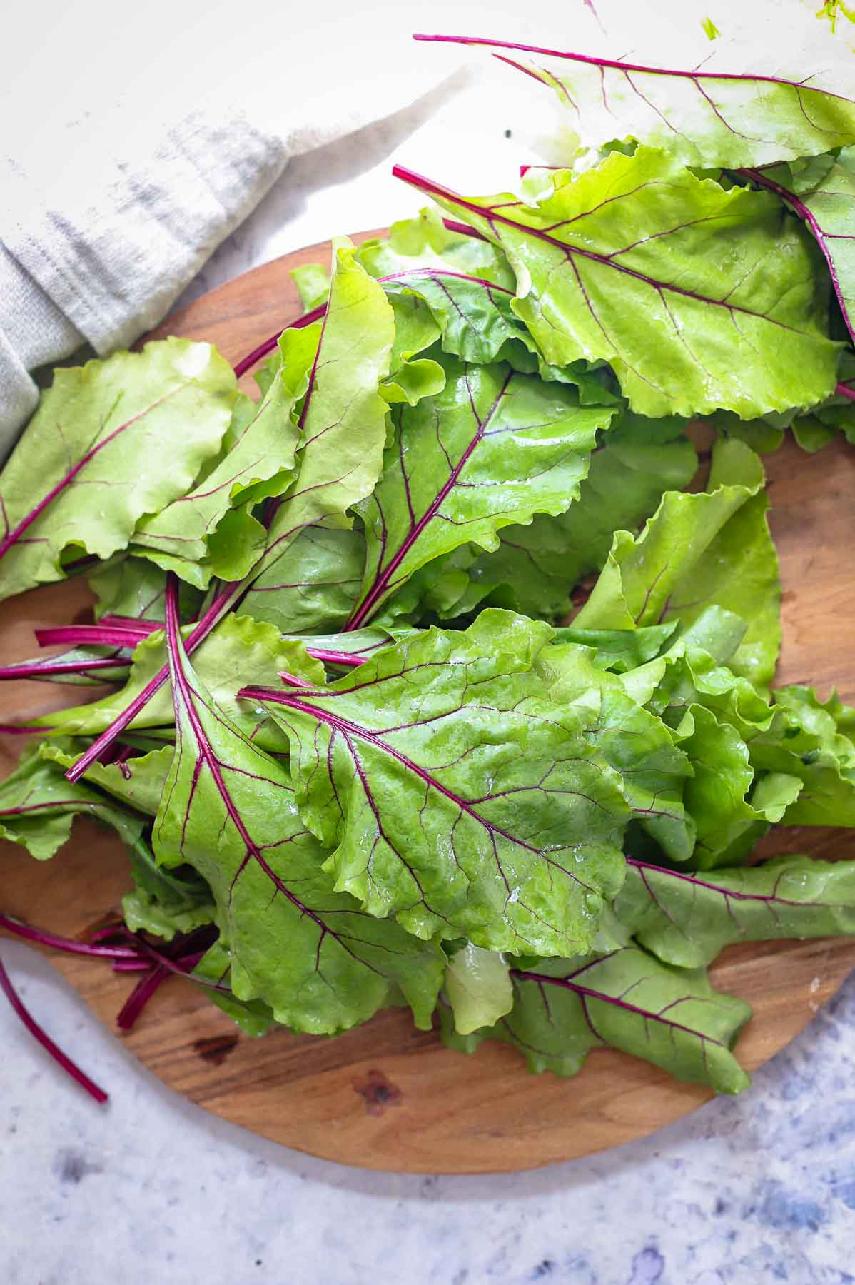 Beet greens for wok fried Asian-Style Beet Greens