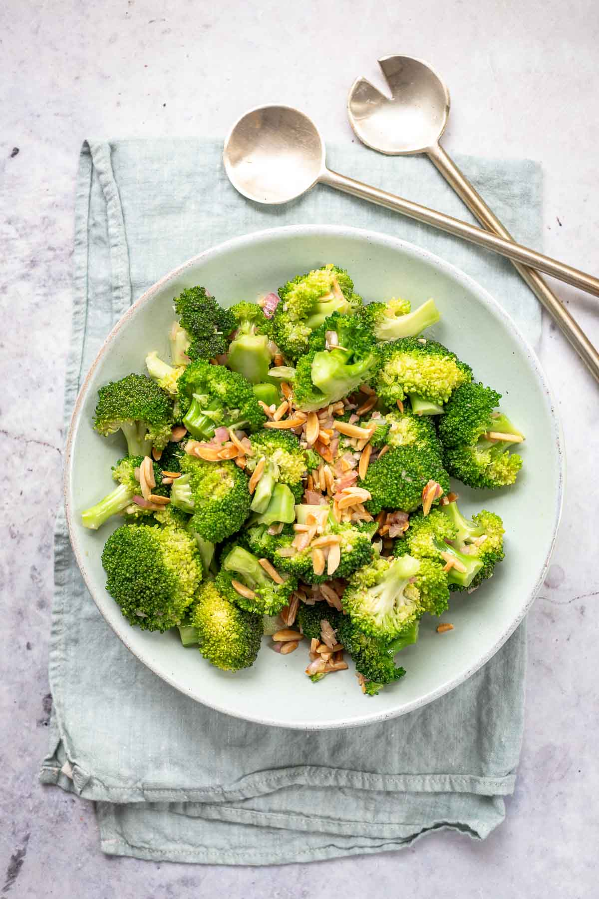 Asian-Style Broccoli Salad with miso paste and almonds