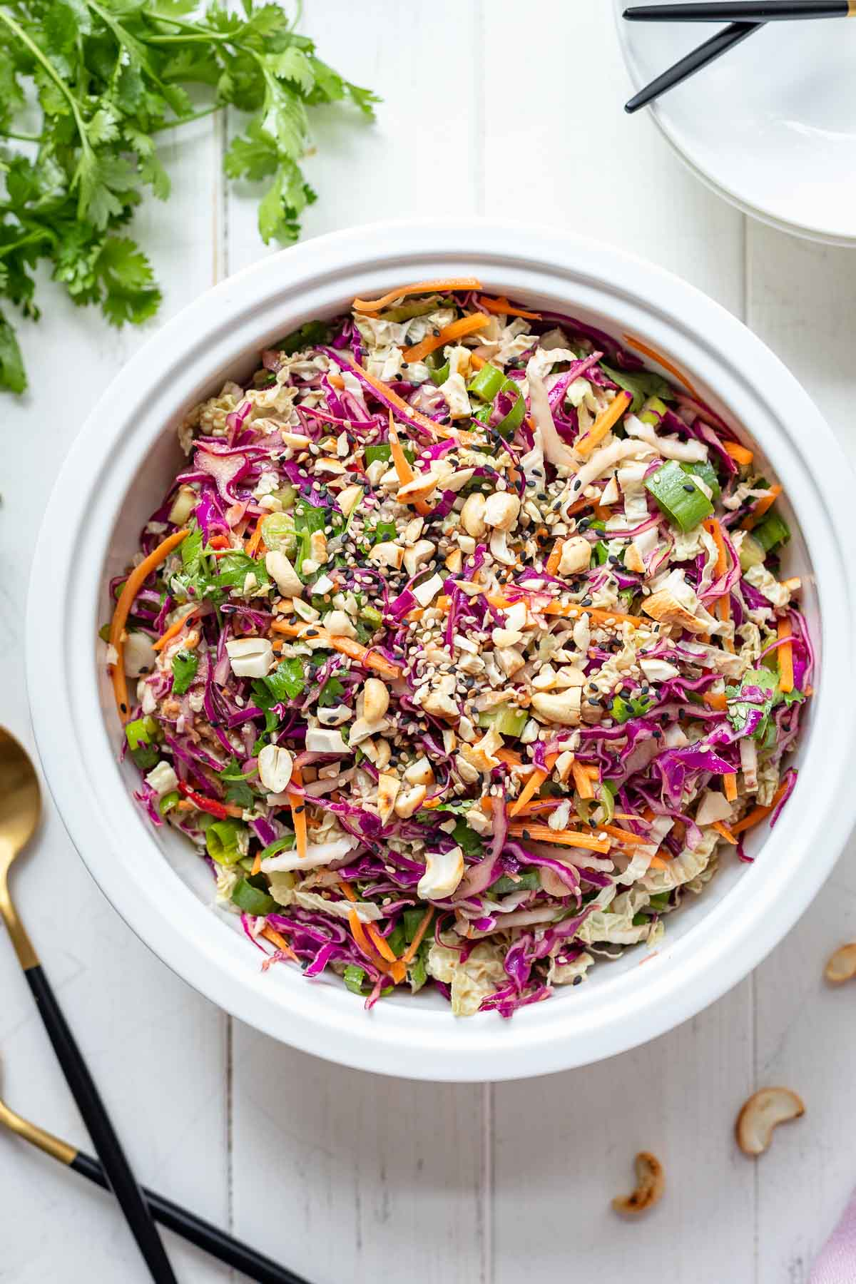 Asian Coleslaw with red and white cabbage, carrot, spring onions and cilantro