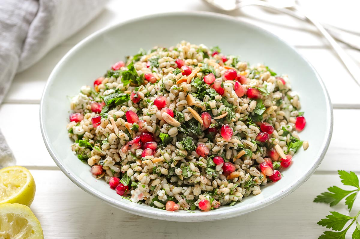 Pearl Barley Salad with Parsley, Dill, Mint and Feta
