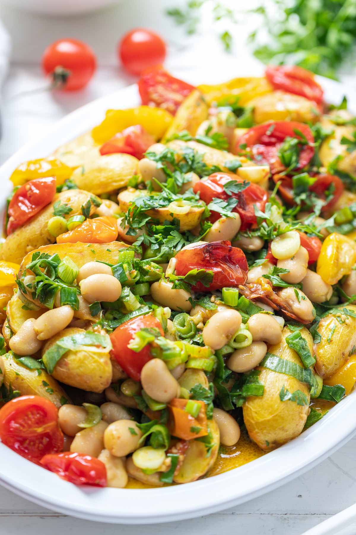 Roasted Tomato and Potato Salad with Butter Beans