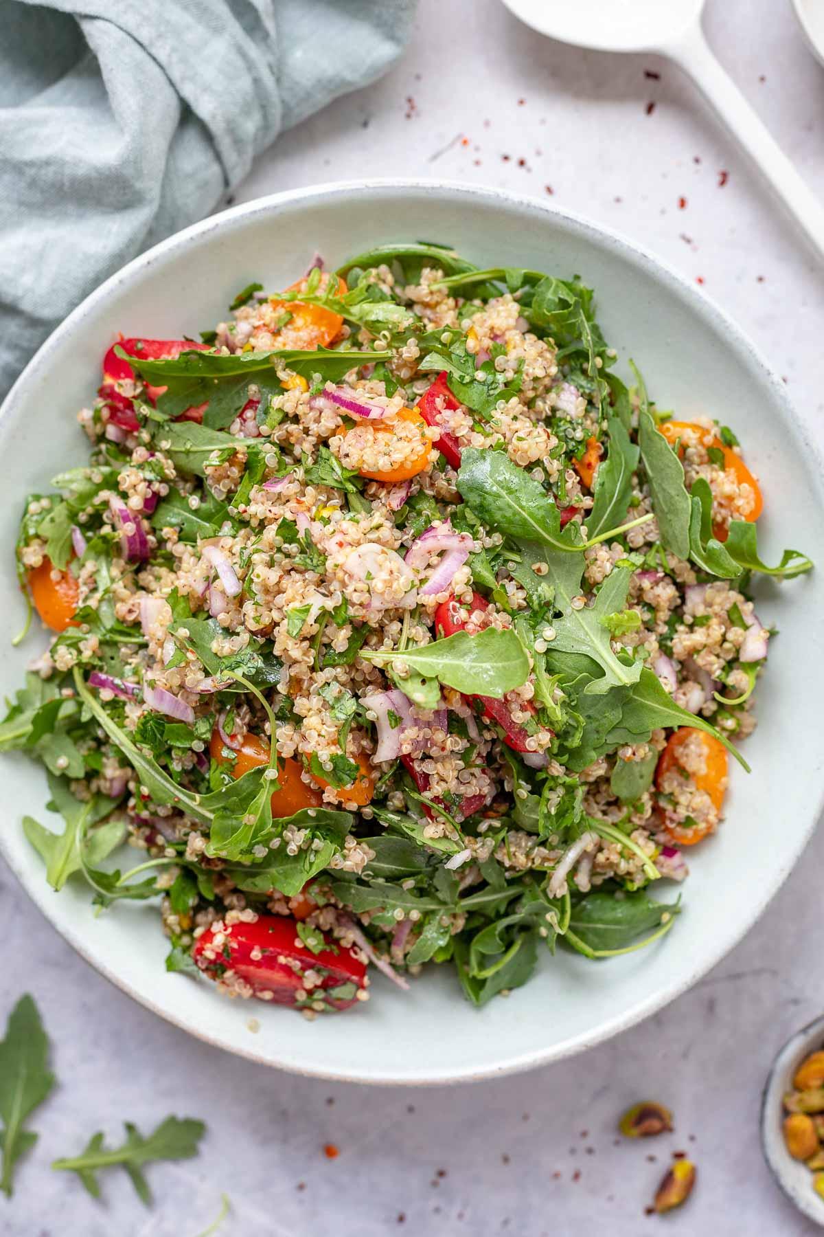 Quinoa Salad with Za'atar, Herbs, Tomato, Arugula & Pistachio