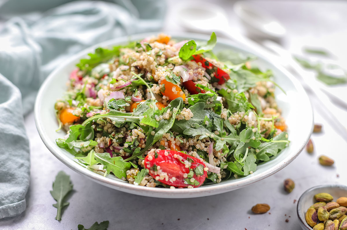 Quinoa Salad with Za'atar, Herbs & Pistachio