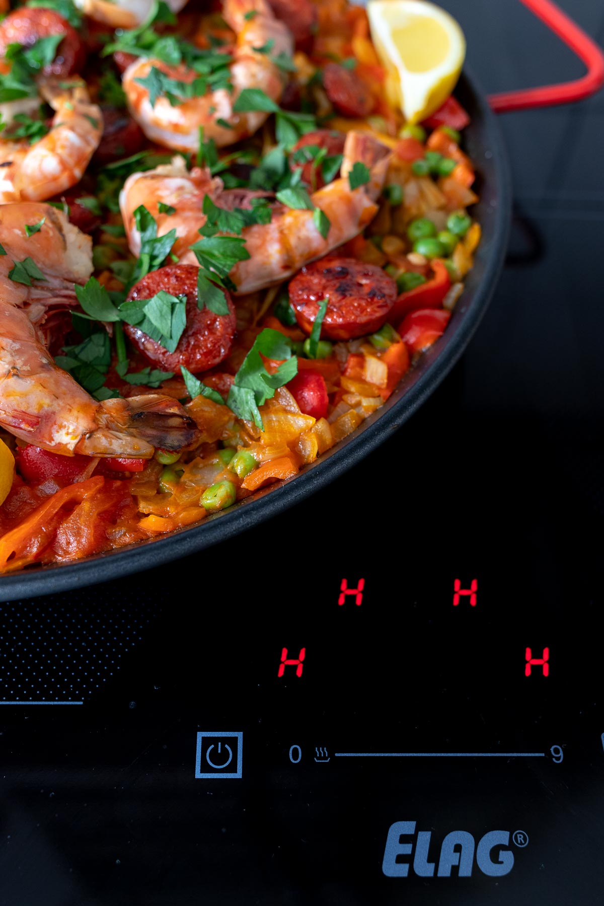 ELAG cooktop Paella with Prawns and Chorizo