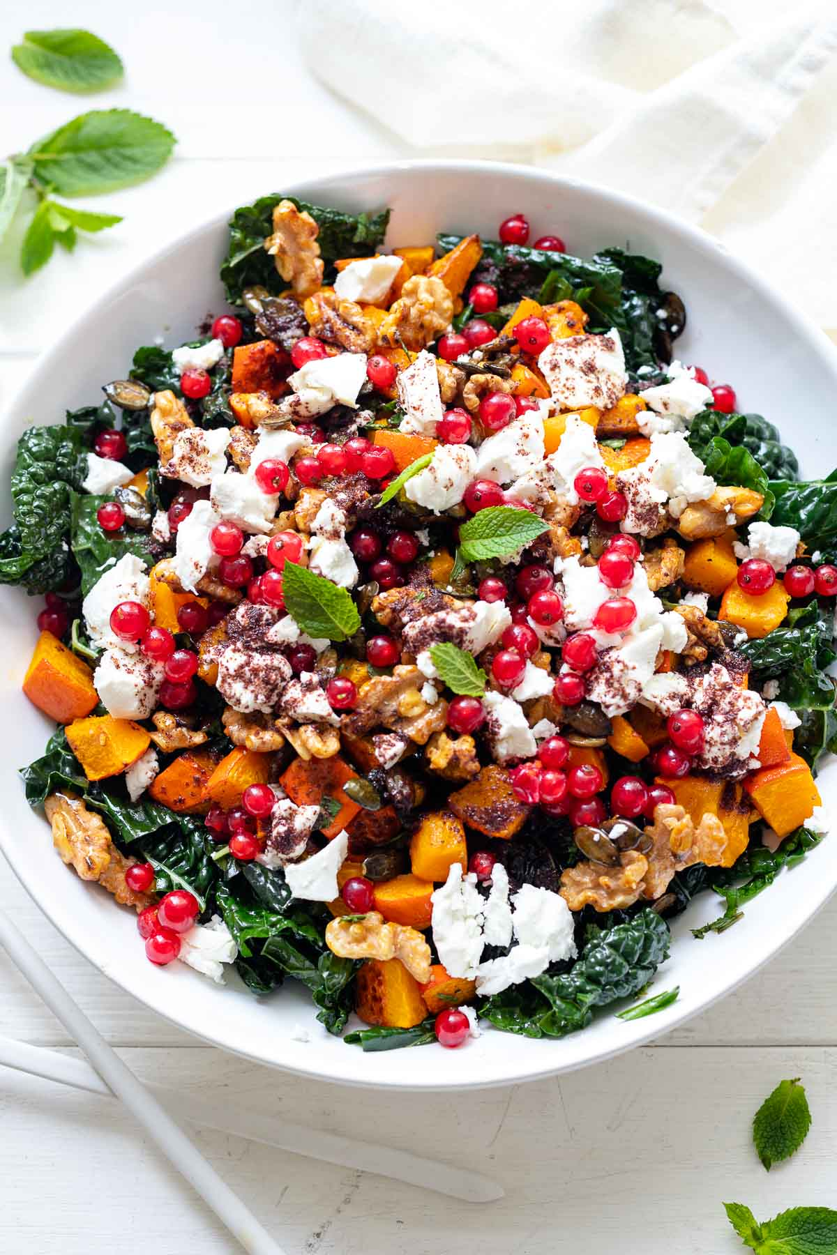 Roasted Pumpkin with Tuscan Kale Salad with Goat Cheese and Candied Walnuts