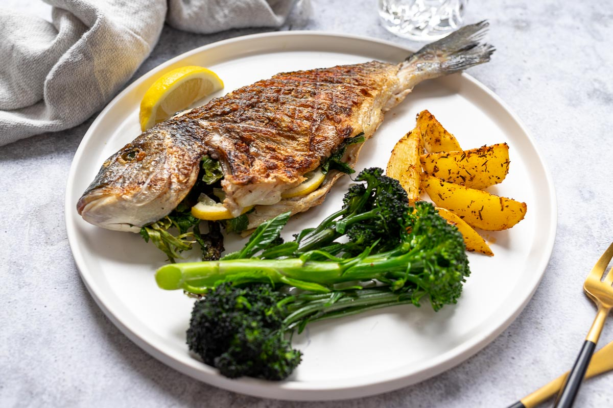 Grilled Sea Bream on induction stovetop with grill plate