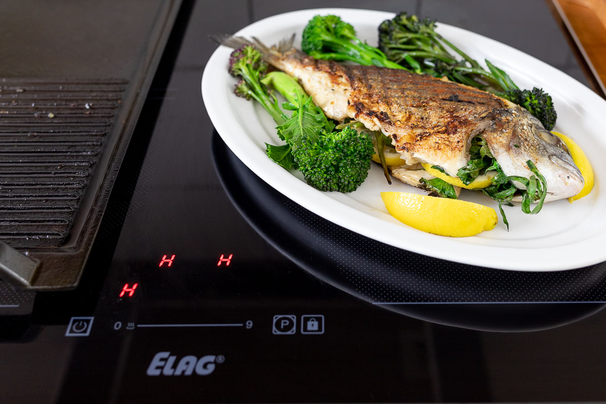 Whole Fish from the Grill — Grilled Sea Bream on induction stovetop with grill plate