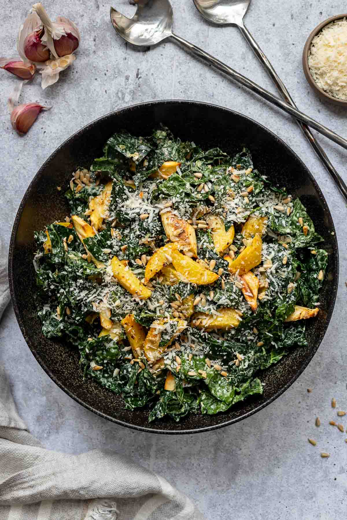 Fall Salad with Tuscan Kale and Parmesan-Roasted Potatoes