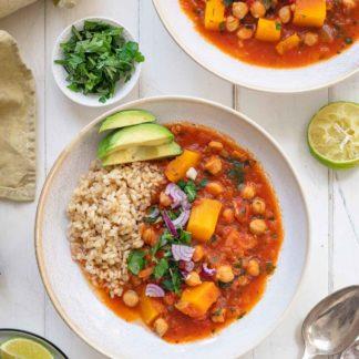 Kürbiseintopf mit Kichererbsen, vegetarisch Rezept mit Reis