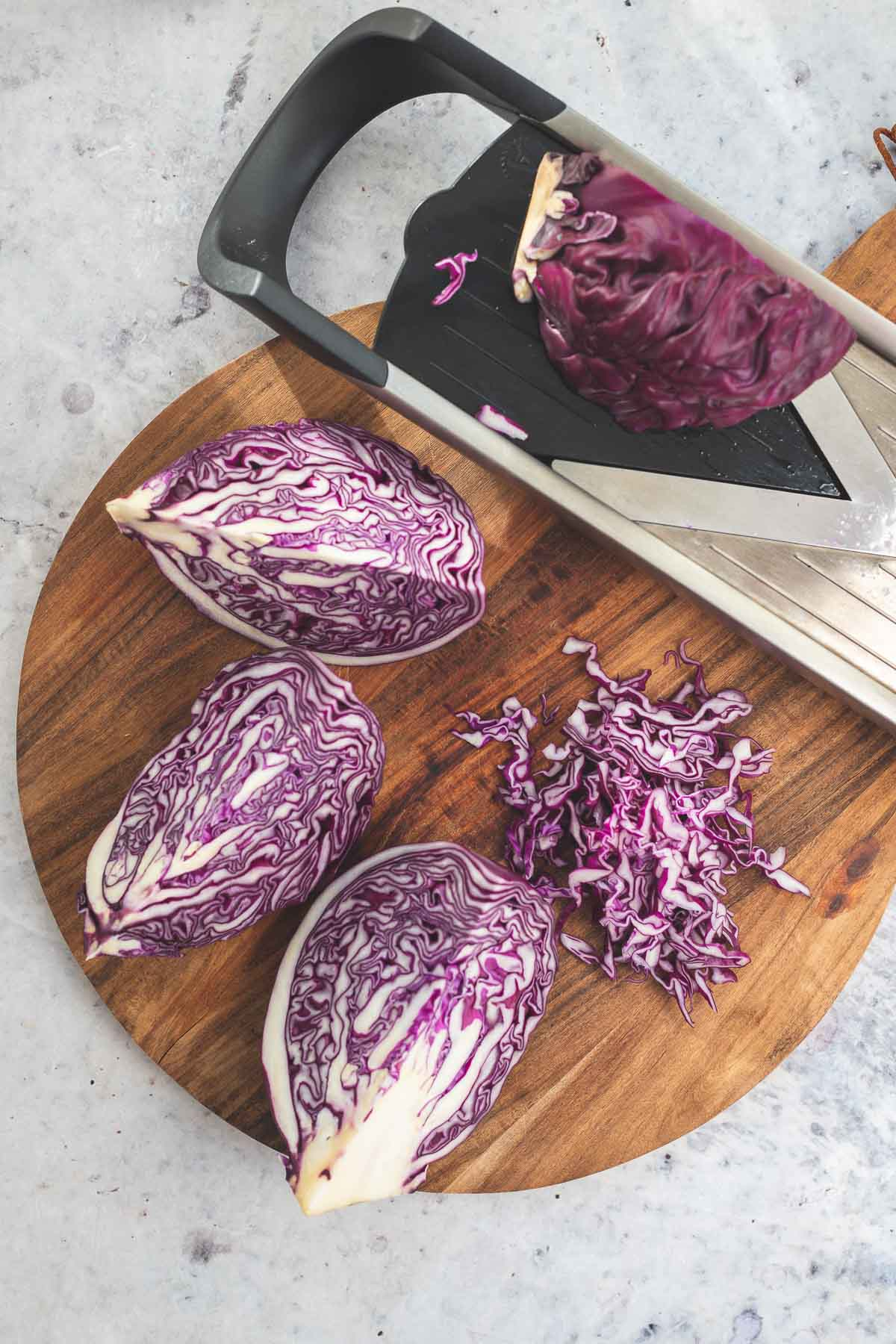 Shredded cabbage for red cabbage mango slaw recipe