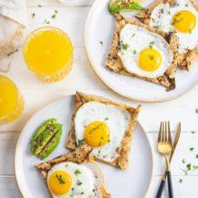 Buchweizen Pfannkuchen mit Schinken, Käse und Spiegelei von ELAG LeMax Tischgrill