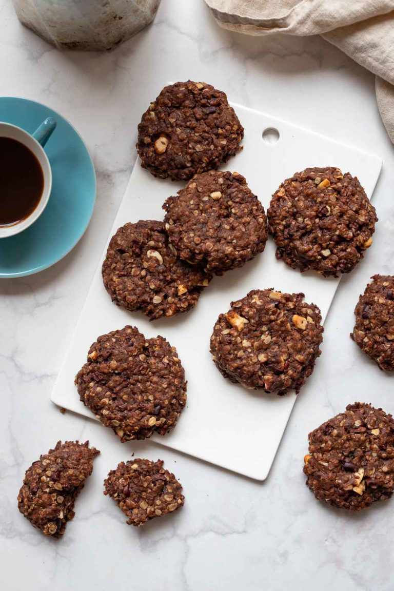 Wholemeal Chocolate Cookies with Cashews & Cocoa Nibs